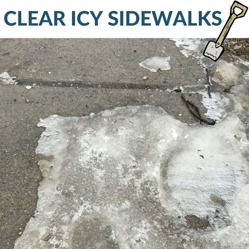 An image of an icy sidewalk in Iowa City