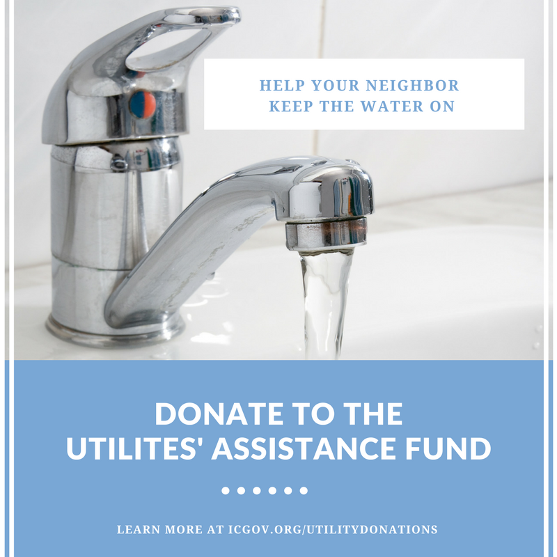 A graphic promoting Iowa City's Utilities' Assistance Fund.