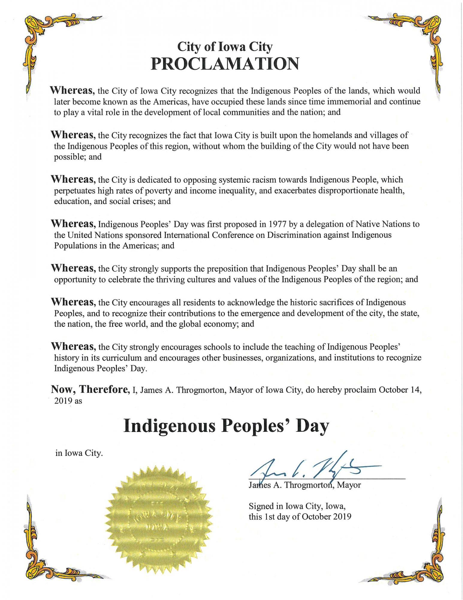 Proclamation for Indigenous People's Day.