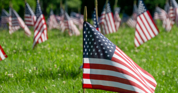 A picture of Memorial Day flags is shown.