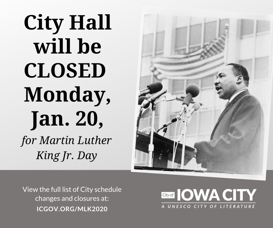 Graphic saying City offices will be closed Jan. 20, 2020 for MLK Day.
