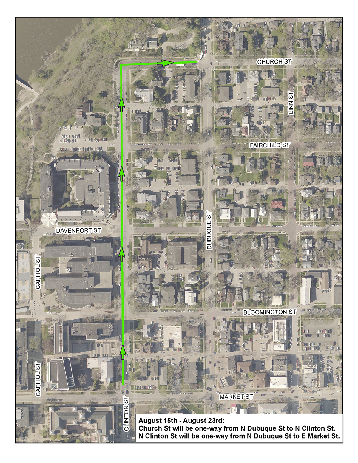 A map of one-way streets for UI move-in.