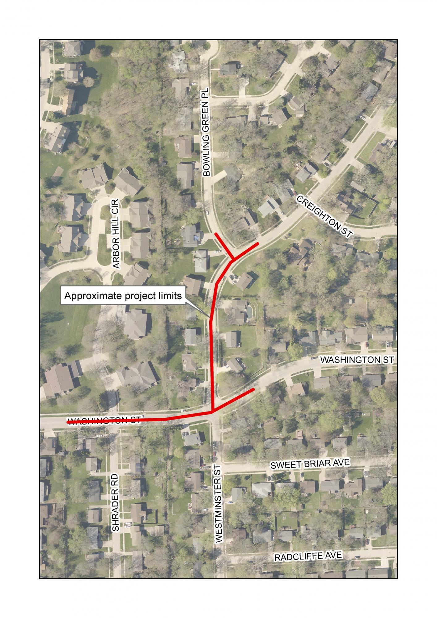 A map of the North Westminster Storm Sewer Upgrades.