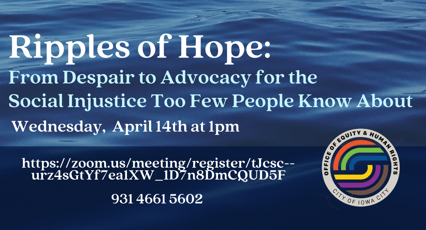 A graphic promoting Ripples of Hope at 1 p.m. Wednesday, April 14, 2021.
