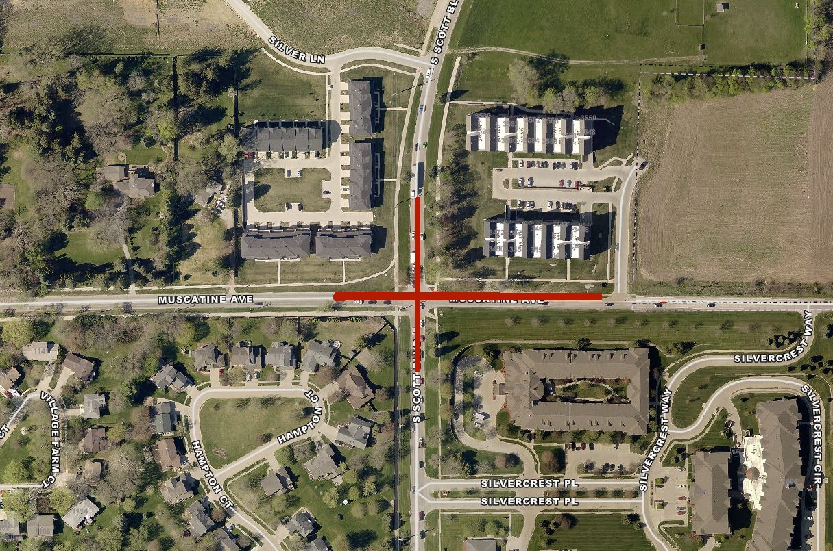 A map of the Scott/Muscatine road closure.