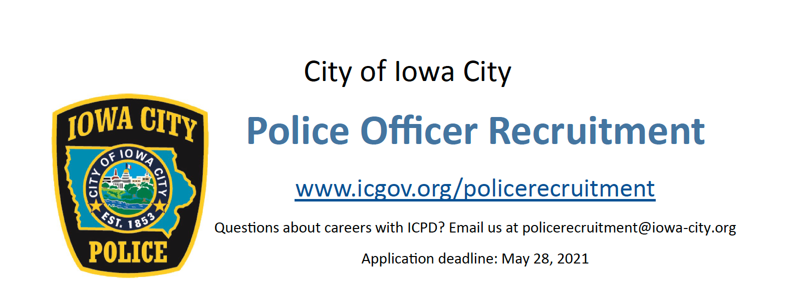 """An image an IPCD badge and the text """"Police Officer Recruitment"""" is shown."""