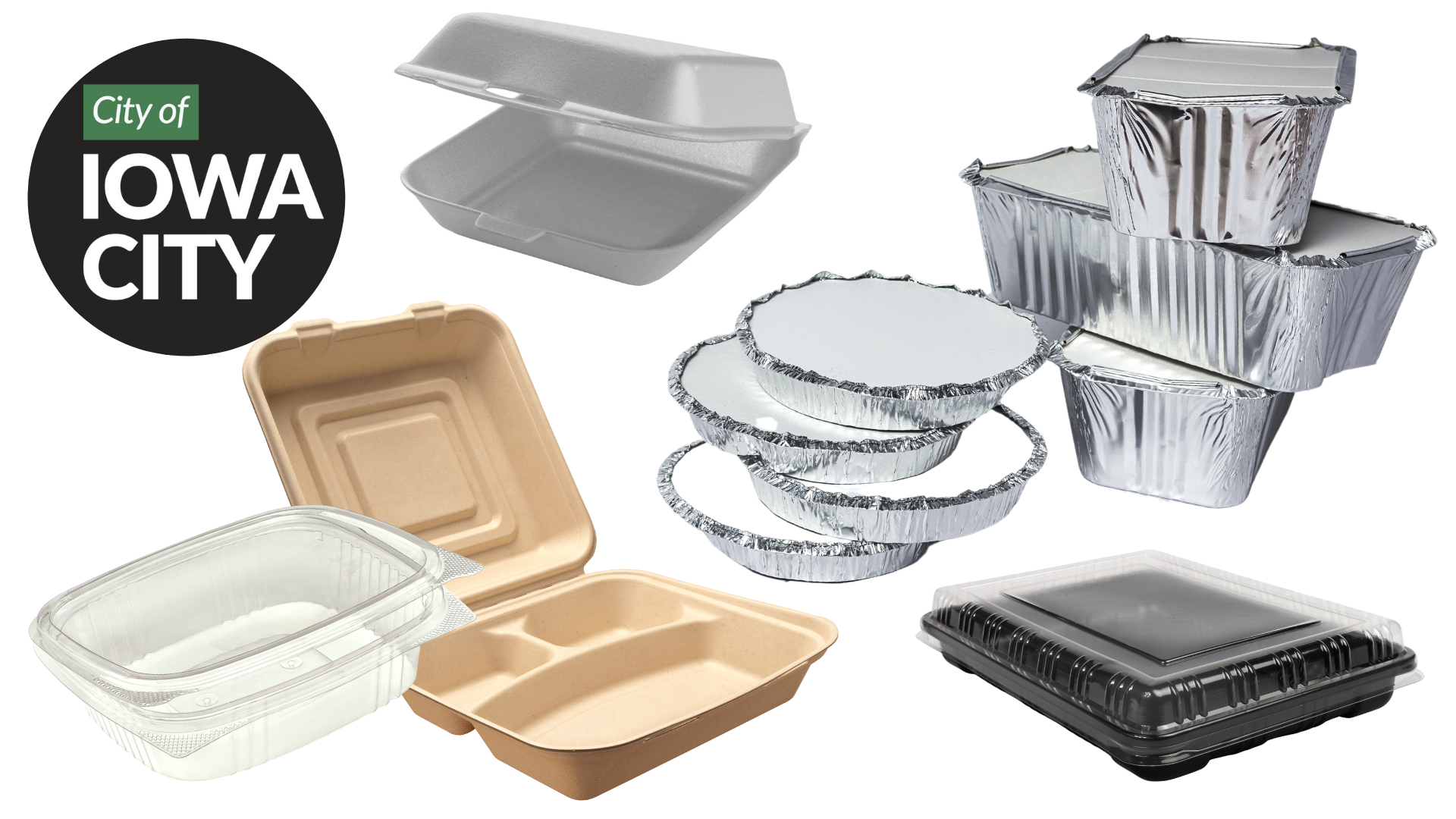 An image with various take-out food containers is shown.
