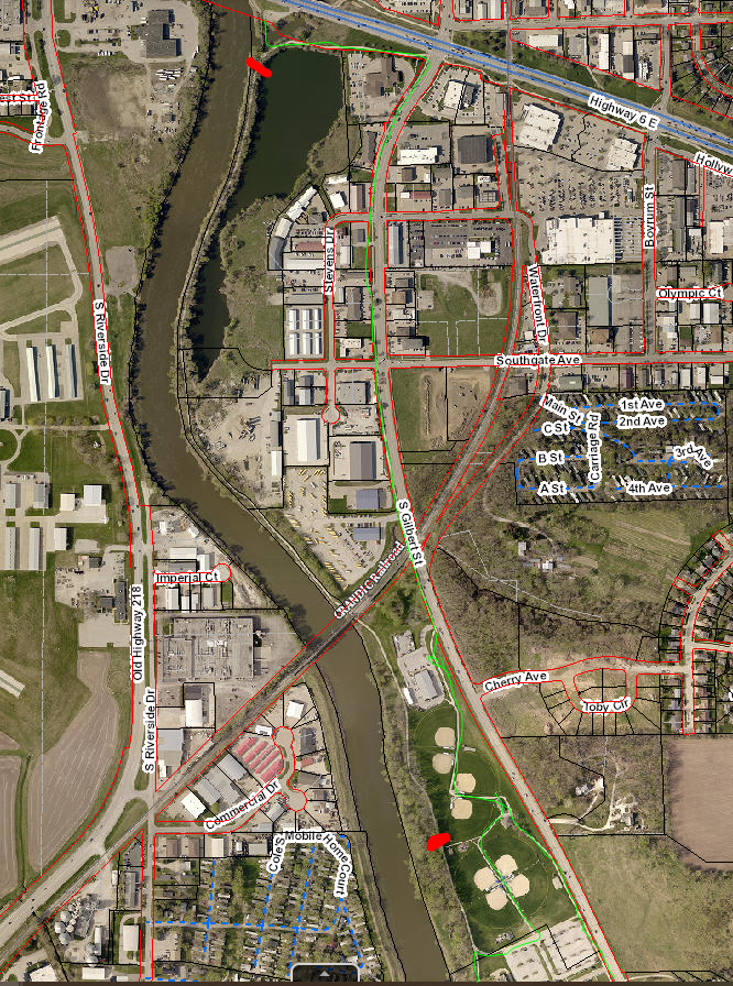 A map that shows trail closures along the Iowa River.