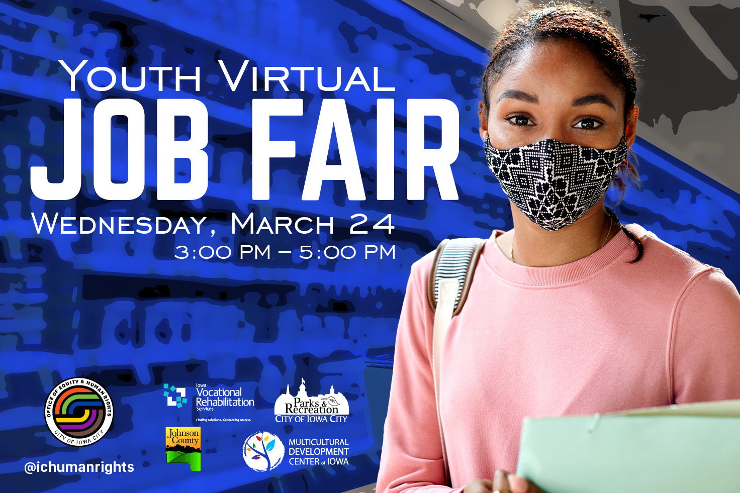 A graphic promoting a youth virtual job fair on March 24, 2021.