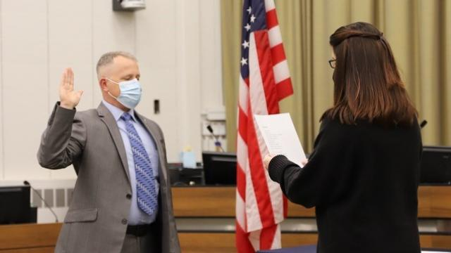 Police Chief Dustin Liston is shown being sworn-in on Monday, Jan. 11, 2021/