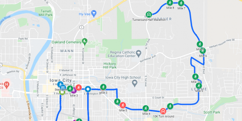 Route map for the 2021 Iowa City Run for the Schools