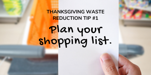A graphic that promotes reducing waste over Thanksgiving.