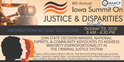 Graphic promoting the Iowa Summit on Justice and Disparities on Oct. 29, 2020.