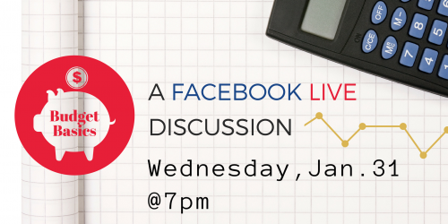 A graphic promoting the City of Iowa City's Budget Basics Facebook live discussion.