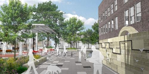 A rendering of the Iowa City Pedestrian Mall Project.