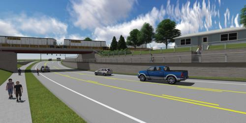 An artist's rendering of the First Avenue Grade Separation Project