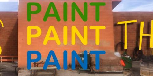 A graphic promoting community painting project in Iowa City