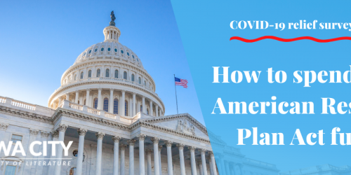 An image of the US Capitol with text: How to spend American Rescue Plan Act funds.