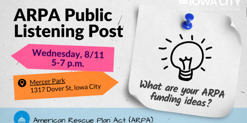 graphic promoting Aug. 11, 2021 ARPA Listening Post.