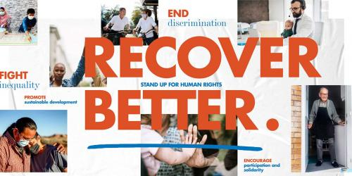 graphic promoting the UN's Recover Better initiative.