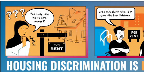 A cartoon depicting housing discrimination is shown.