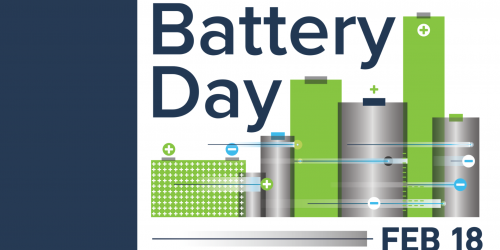 Graphic for National Battery Day on Feb. 18, 2021.