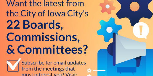 Graphic promoting how to follow City boards, commissions, and committees.