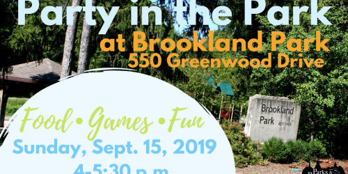 Graphic for Brookland Park Party in the Park, from 4-5:30 p.m. Sunday, Sept. 15, 2019.