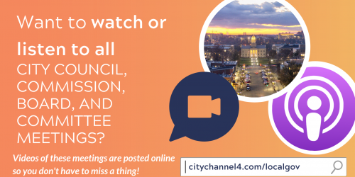 A graphic promoting City meetings being available to view online.