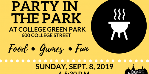 Graphic for College Green Party in the Park at 4 p.m. Sept. 8, 2019