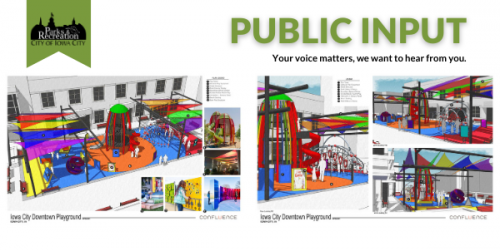 Graphic showing possible playground choices for the Ped Mall.