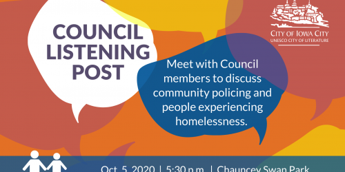 Graphic for City Council Listening Post on Monday, Oct. 5, 2020.