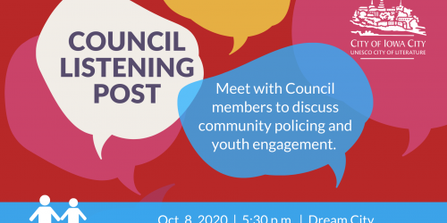 Graphic for Council Listening Post on Oct. 8, 2020.