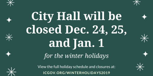Graphic saying City offices will be closed Dec. 24, 25, and Jan. 1.