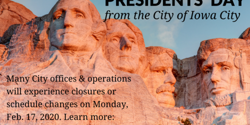 Graphic promoting Presidents' Day: Feb. 17, 2020.