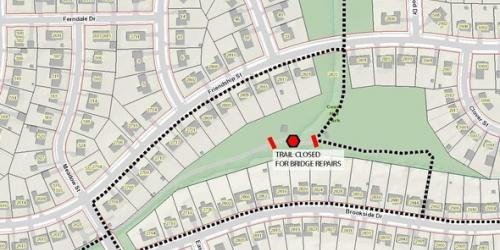 A map showing the partial trail closure in Court Hill Park in September 2021.