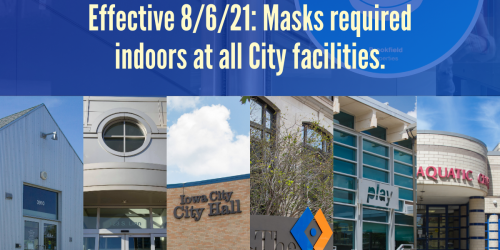 A graphic stating masks should be worn in all City facilities.