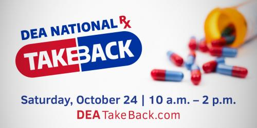 Graphic for National Prescription Drug Take Back event on Oct. 24, 2020.