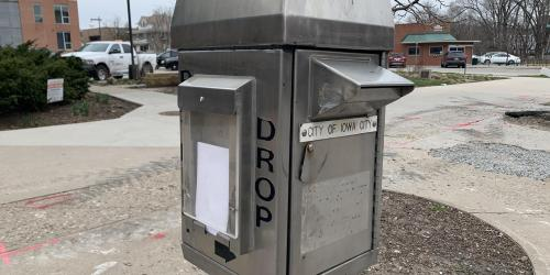 An image of City utility bill dropbox in front of City Hall.
