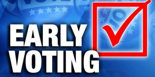 A graphic that says early voting.