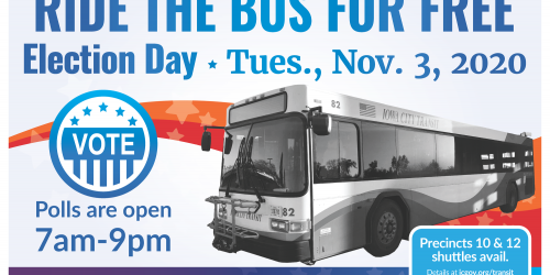 Graphic promoting free rides on City Transit on Election Day, Nov. 3, 2020.