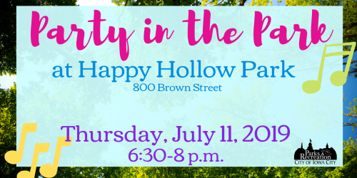Graphic detailing when Party in the Park Happy Hollow Park will take place.