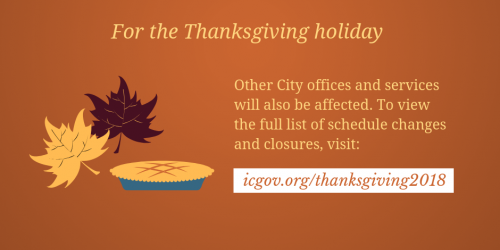A graphic promoting holiday hours at the City of Iowa City