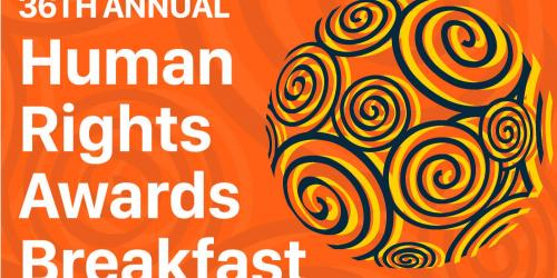 Logo for the 36th Annual Iowa City Human Rights Awards Breakfast.