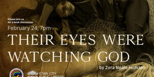 "Graphic promoting a book club discussion of ""Their Eyes Were Watching God."""