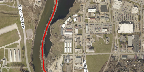 A map that shows what part of the Iowa River Trail is closed for construction.