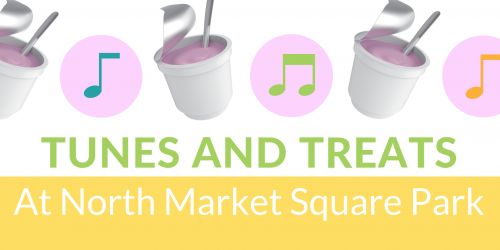 Graphic with pictures of ice cream advertising Tunes and Treats.
