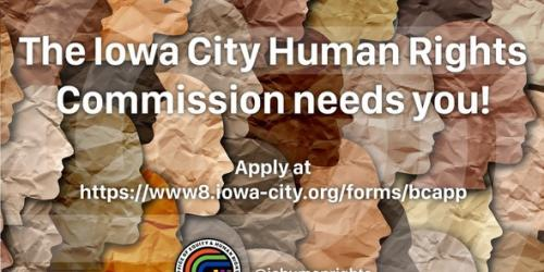 A graphic promoting an opening on the Iowa City Human Rights Commission.
