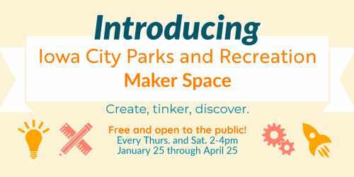 Graphic promoting the Maker Space at Robert A. Lee Recreation Center.