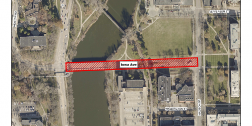 Map of Iowa Ave. closure from Riverside to Madison.